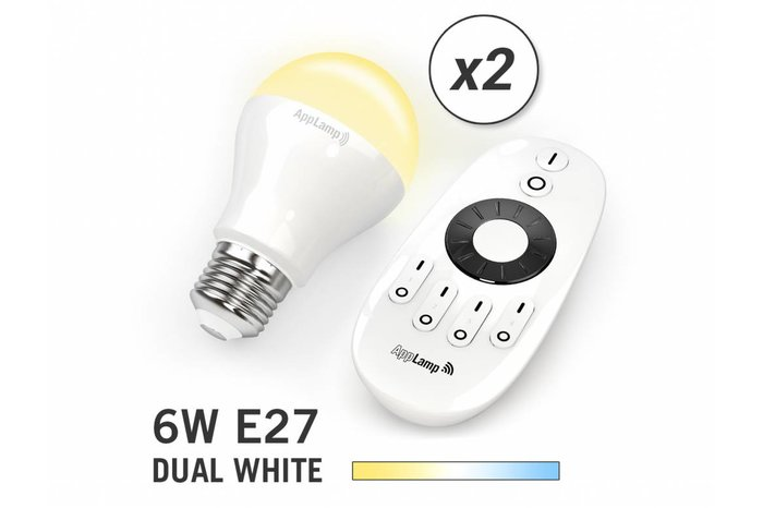 AppLamp Set van 2 Dual White 6W LED lampen + Afstandsbediening