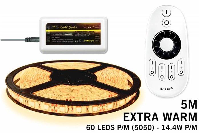 Dimbare LED strip set Extra Warm Wit 5 m. 300 leds 72W RF remote