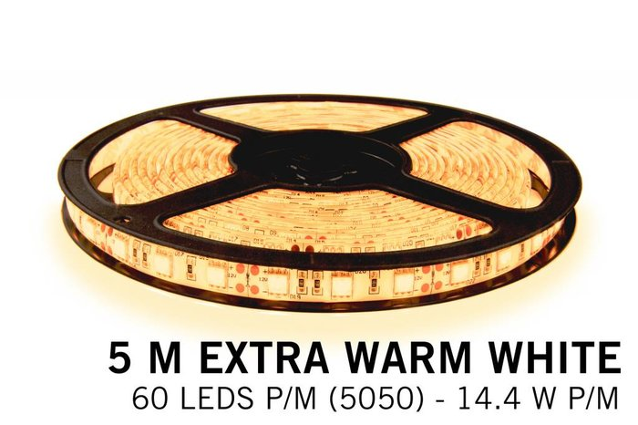MAANDAANBIEDING! van €93 voor €65, Dimbare LED strip set Extra Warm Wit 5 m. 300 leds 72W RF remote