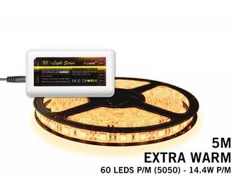 Extra Warm Witte LED strip 300 leds 72W 12V 5M - Uitbreidingsset
