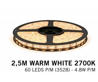AppLamp Warm Wit LED strip 60 LED's p.m. type 3528 - 2,5M - 12V - 4,8W p.m.