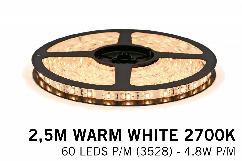 AppLamp Warm Wit LED strip (2700K) 60 LED's p.m. type 3528 - 2,5M - 12V - 4,8W p.m.