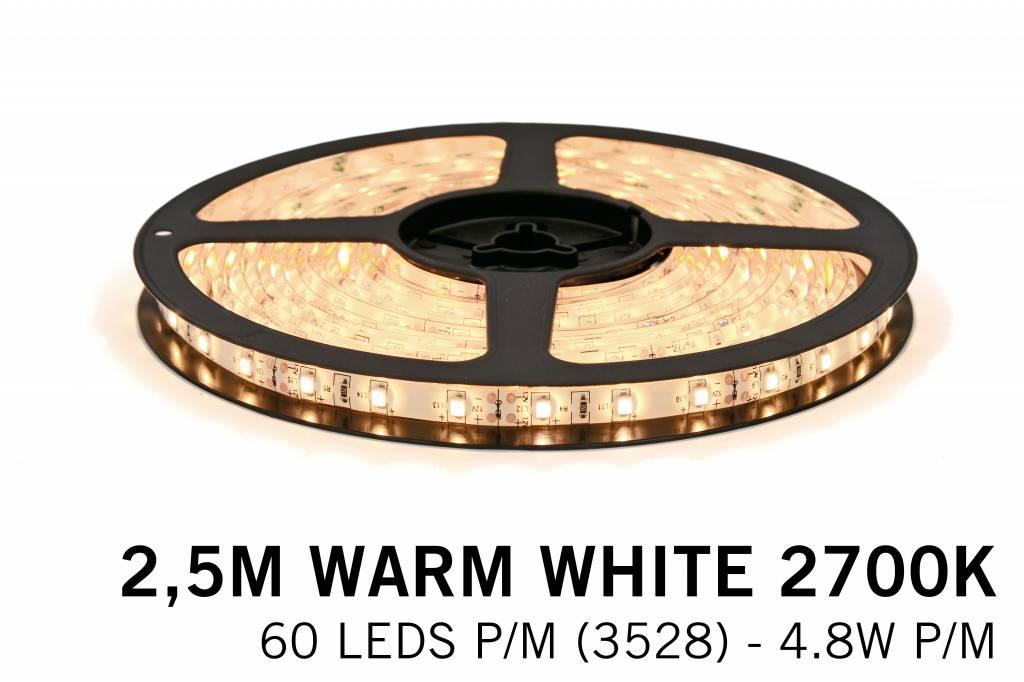 Warm Wit LED strip (2700K) 60 LED's p.m. type 3528 - 2,5M - 12V - 4,8W p.m.