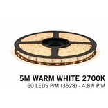 Warm Wit LED strip (2700K) 60 LED's p.m. type 3528 - 5M - 12V - 4,8W p.m.