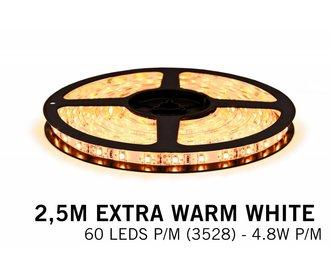 AppLamp Extra Warm Witte LEDstrip 60 leds p.m. - 2,5 Meter - type 3528 - 12V - 4,8W/p.m