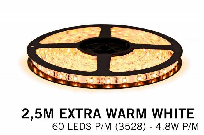 Extra Warm Witte LEDstrip 60 leds p.m. - 2,5 Meter - type 3528 - 12V - 4,8W/p.m
