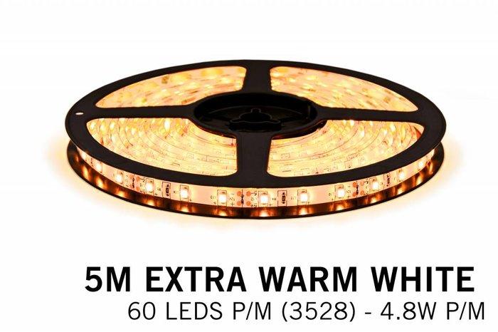 Extra Warm Witte LEDstrip 60 leds p.m. - 5M - type 3528 - 12V - 4,8W/p.m