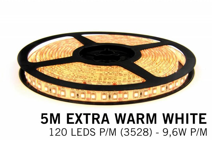 AppLamp Extra Warm Witte LEDstrip 120 leds p.m. - 5 Meter - type 3528 - 12V - 9,6W/p.m