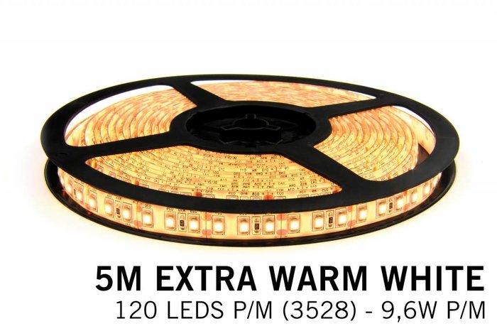 Extra Warm Witte LEDstrip 120 leds p.m. - 5 Meter - type 3528 - 12V - 9,6W/p.m