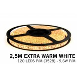 AppLamp Extra Warm Witte LEDstrip 120 leds p.m. - 2, 5 Meter - type 3528 - 12V - 9,6W/p.m