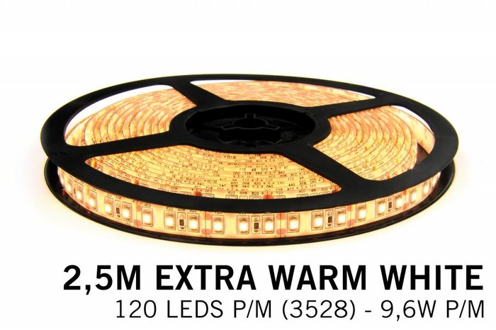 Extra Warm Witte LEDstrip 120 leds p.m. - 2, 5 Meter - type 3528 - 12V - 9,6W/p.m