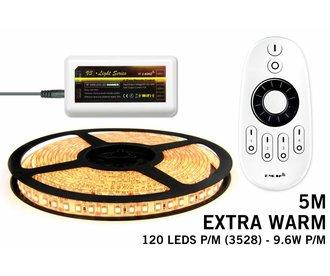 LED strip set Extra Warm Wit 600 leds - 48W 12V 5M, RF dimbaar