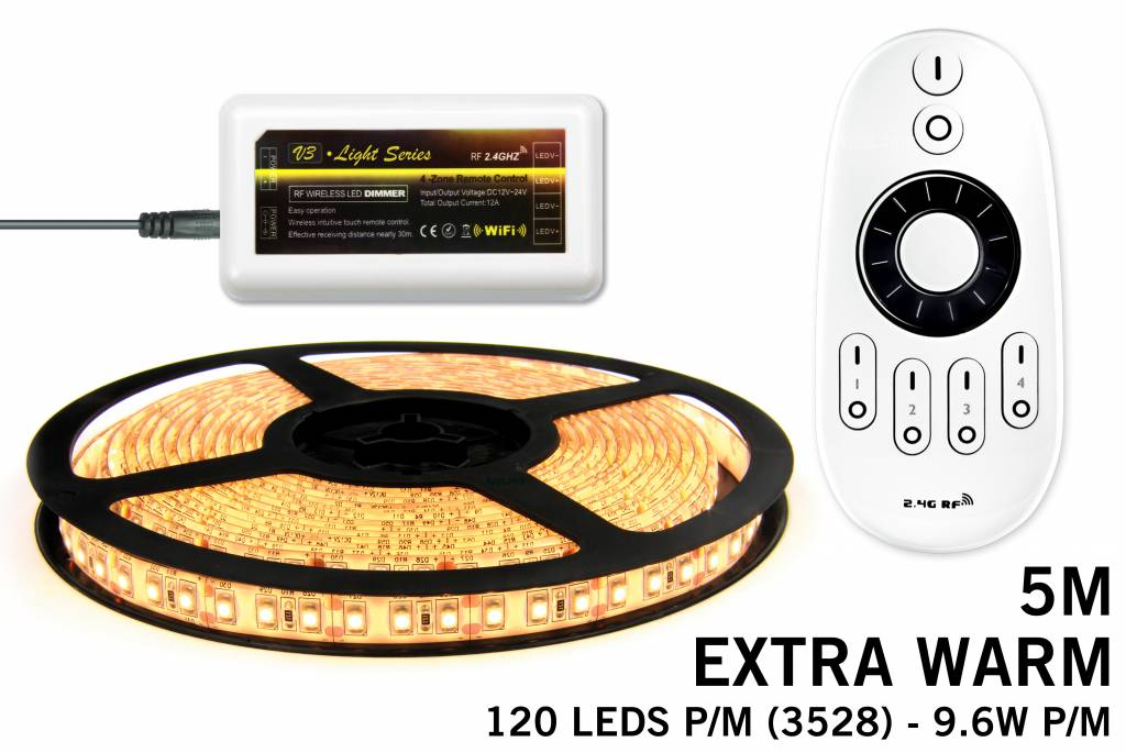 LED strip set Extra Warm Wit 600 leds - 48W 12V 5M, RF dimbaar