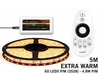 LED strip set Extra Warm Wit 300 leds - 24W 12V IP65 5M, RF dimbaar