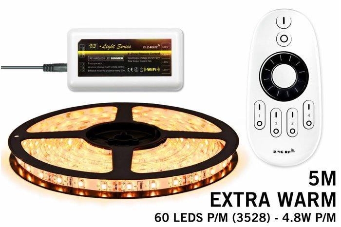 Dimbare LED strip set Extra Warm Wit 5M. 300 leds - 24W 12V 5M, RF dimbaar