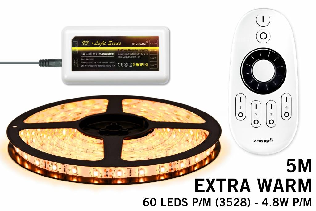 LED strip set Extra Warm Wit 300 leds - 24W 12V IP65 5M, RF dimbaar