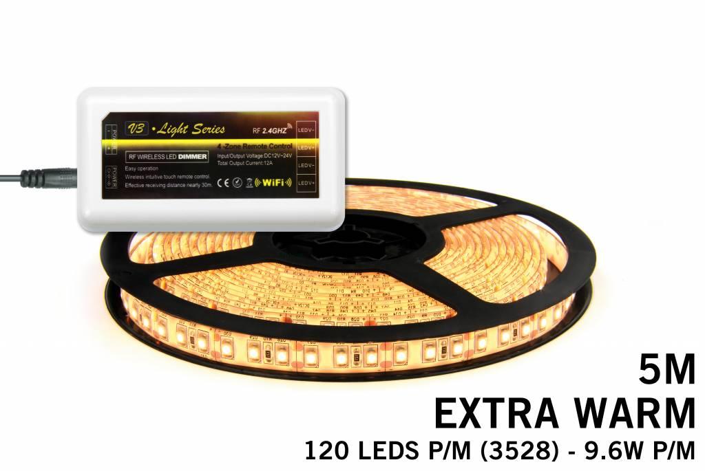 Mi·Light Extra Warm Witte LED strip met 600 type 3528 leds 48W 12V 5M - Uitbreid