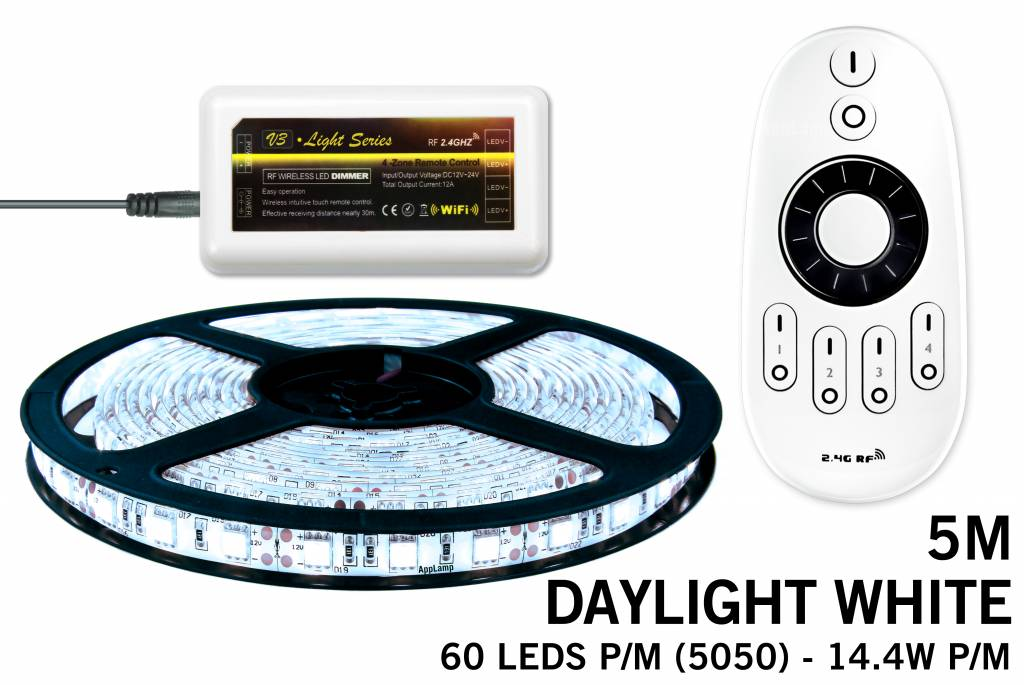 LED strip set koel wit 300 leds 72W 12V 5M, RF dimmen