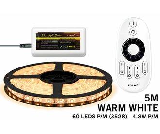 LED strip set, RF dimbaar, warm wit, 5 m. 300 leds type 3528 - 24W - 12V
