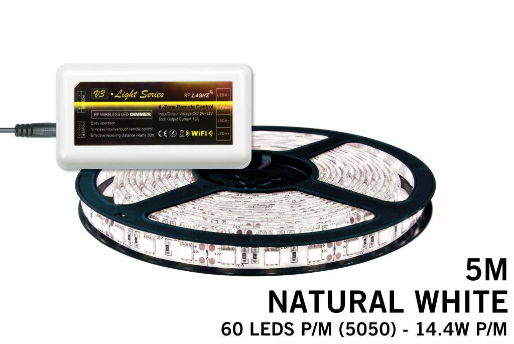 mi light led strip set neutraal wit 300 leds 72w 12v 5m uitbreidingsset. Black Bedroom Furniture Sets. Home Design Ideas