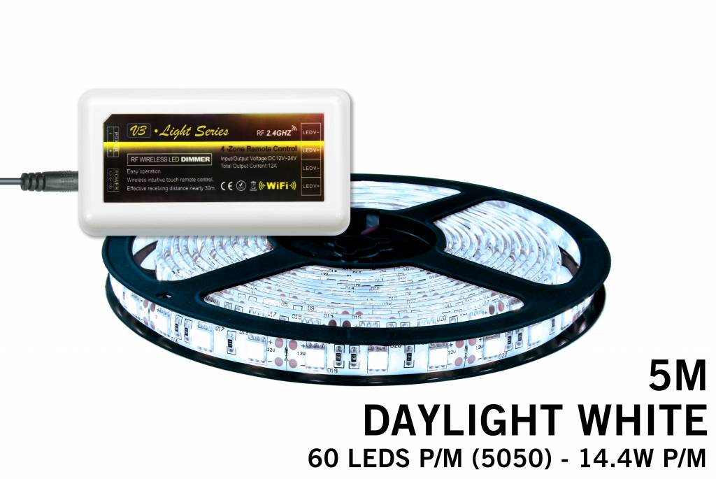 LED strip set koel wit 300 leds 72W 12V 5M - Uitbreidingsset