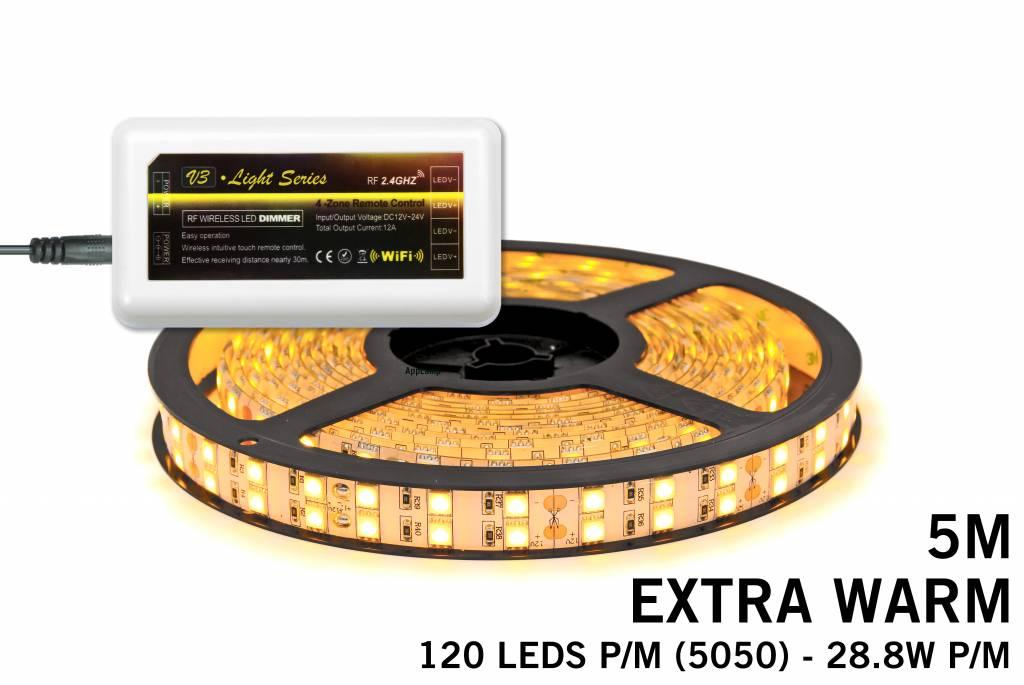 LED strip set Extra Warm Wit met dubbele rij, 600 leds 28W p.m.,12V 5M - Uitbreidingsset