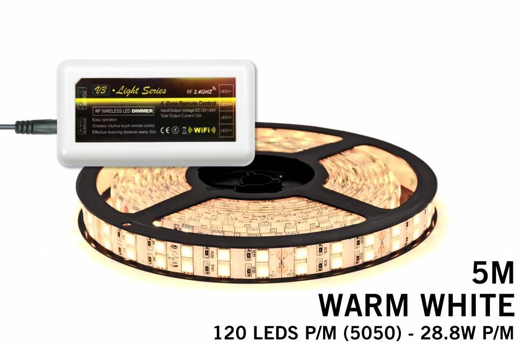 LED strip set Warm Wit met dubbele rij, 600 leds 28W p.m.,12V 5M - Uitbreidingss