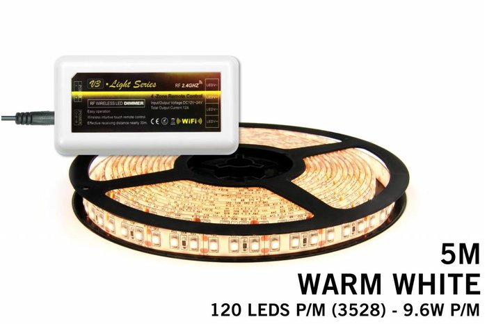 Mi·Light Warm Witte LED strip met 600 type 3528 leds 48W 12V 5M - Uitbreidingsset