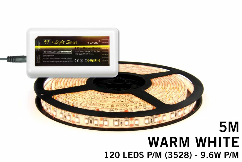 Warm Witte LED strip met 600 type 3528 leds 48W 12V 5M - Uitbreidingsset