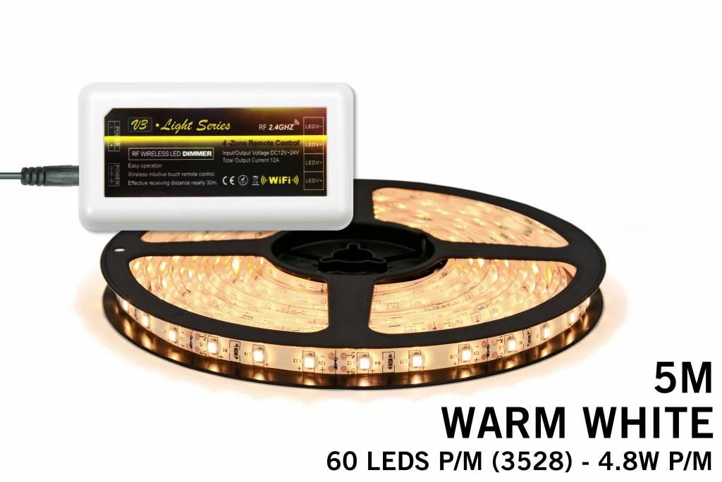 Warm Witte LED strip met 300 type 3528 leds 24W 12V 5M - Uitbreidingsset