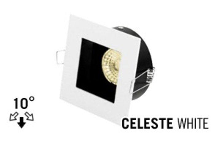 LED Inbouwspot CELESTE, GU10 Armatuur,Wit Verdiept vIERKANT, Tilt 10°
