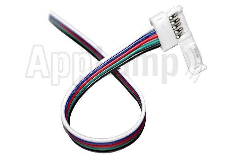 RGBW LED strip pigtail connector voor 12mm strips, soldeervrij, 15cm - 5 contacten