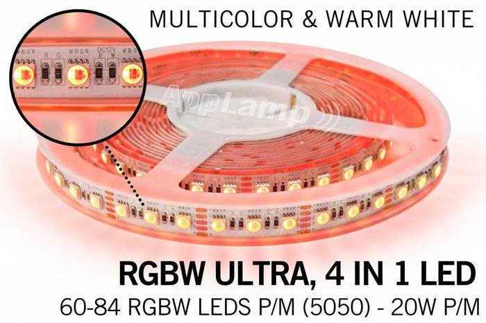 Wifi RGBW ULTRA LED strip met kleur + warm wit, 4 in 1 LED