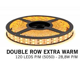 Extra Warm Witte Ledstrip met dubbele rij 5050 LED's - 28,8W P/M 12V