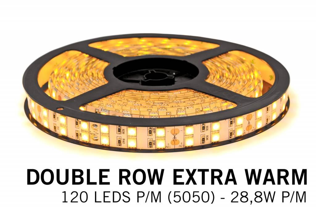 Extra Warm Witte Ledstrip 2200K, dubbele rij 5050, 28.8W P/M 12V