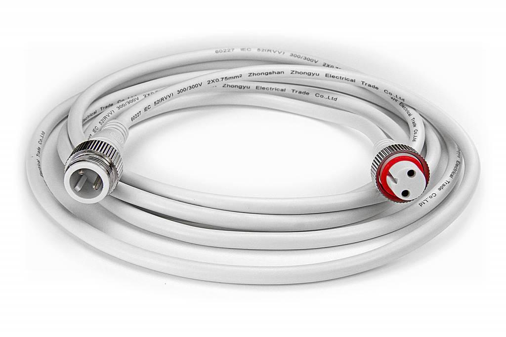 AppLamp Witte LED strip waterdichte verlengkabel 2 meter, DC jack, IP68