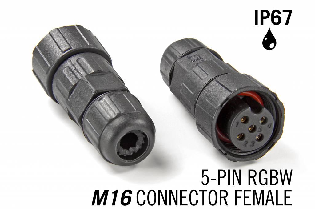 M16 5-pin IP67 Waterdichte Connector Female - RGBW