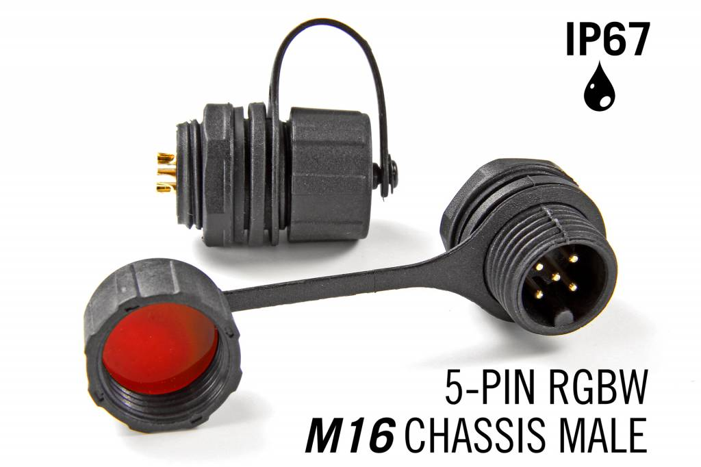 M16 5-polige IP67 Waterdichte Chassis Connector Male - RGBW