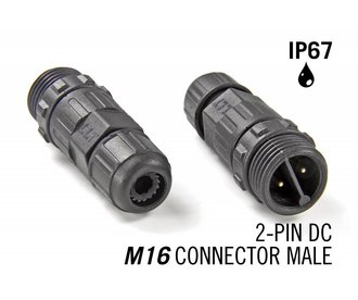 M16 tweepolige IP67 Waterdichte Cable Connector Male - DC