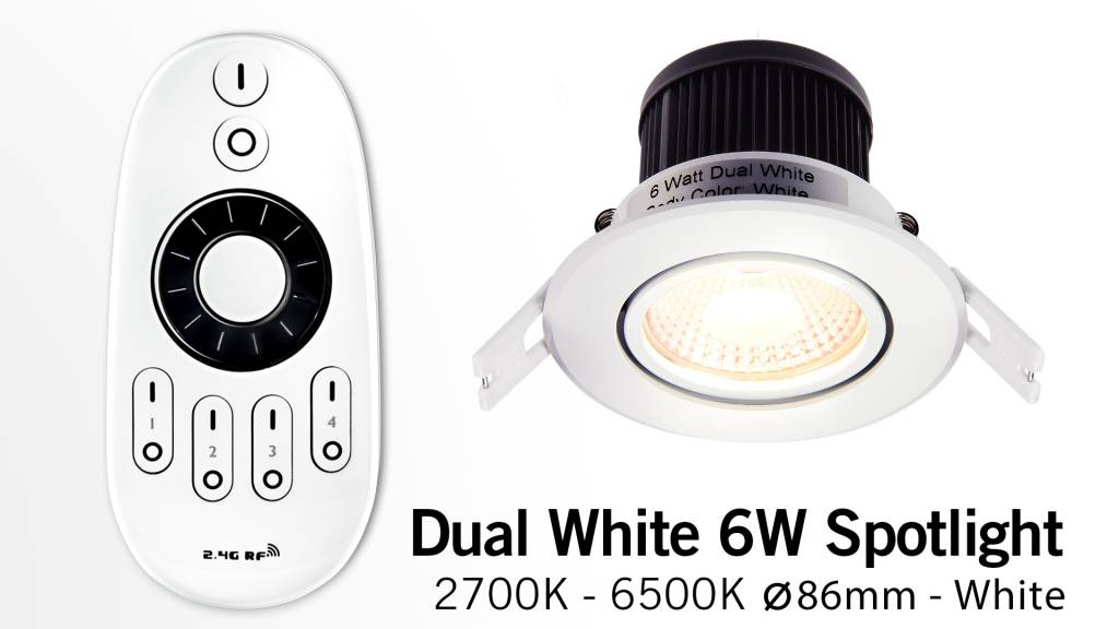 Mi·Light 6 Watt Dual White LED kantelbare Inbouwspots. Set met afstandsbediening