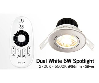 Mi·Light 6 Watt Dual White LED kantelbare Inbouwspots. Set met afstandsbediening en 220V controller. Zilver Chrome