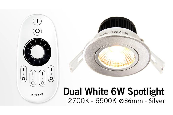 AppLamp Sets met Dual White 6W LED Inbouwspots en afstandsbediening, dimbaar 6 Watt 220V