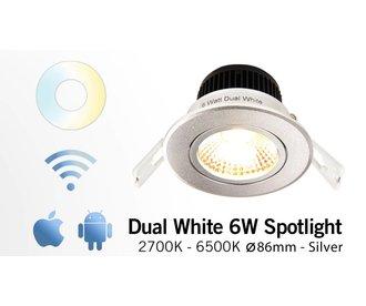 Mi·Light 6 Watt Dual White LED kantelbare Inbouwspot. Inclusief voeding en controller. 220Volt. Zilver Chrome