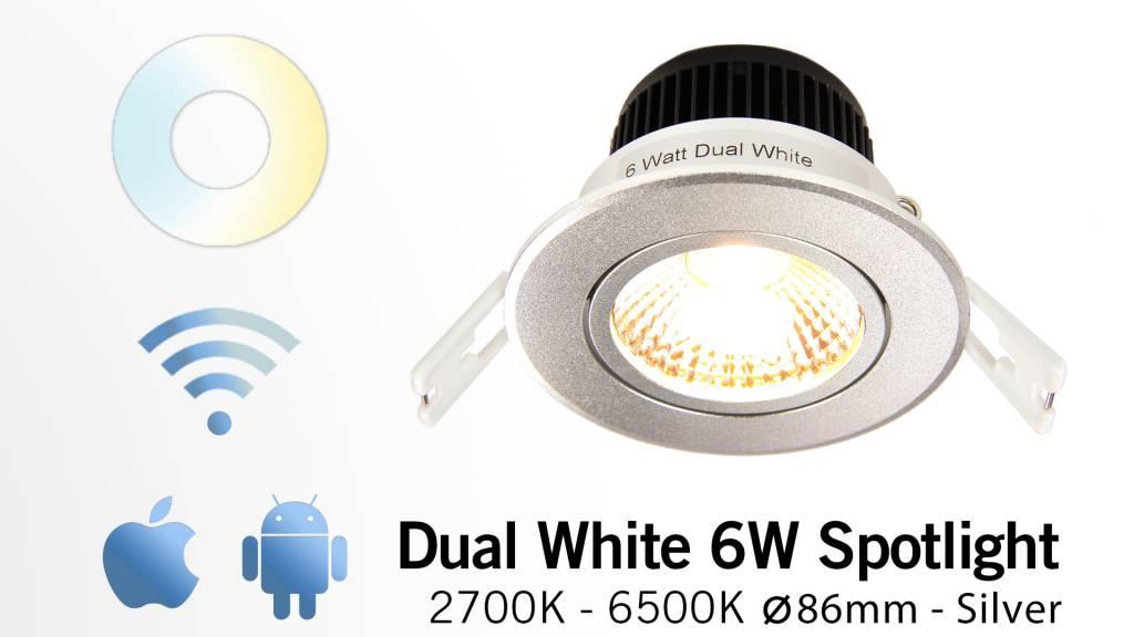6W Dual White LED Inbouwspot 220V. Kantelbaar Zilver Chroom