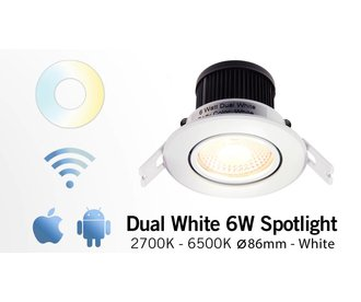 Mi·Light 6 Watt Dual White LED kantelbare Inbouwspot. Inclusief voeding/controller. 220Volt. Satijn Wit