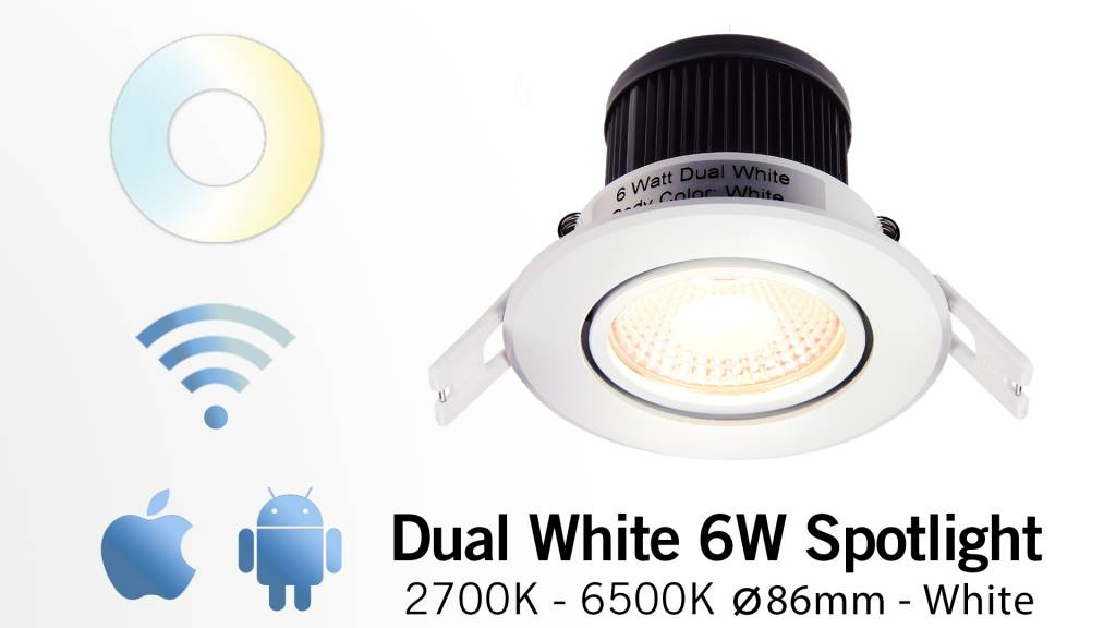AppLamp 6 Watt Dual White LED kantelbare Inbouwspot. Inclusief voeding/controlle