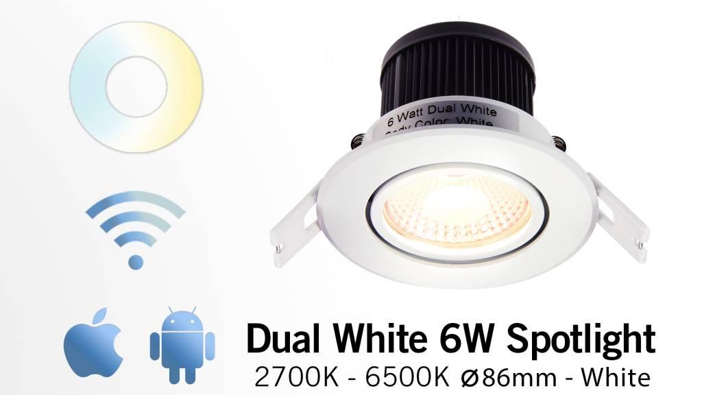 Mi·Light Mi-Light 6W Dimbaar Dual White LED Inbouwspot 220V. 30° Kantelbaar. Satijn Wit Ø86mm