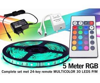 ★★★ SUPERDEAL! ★★★ Complete Set met RGB LED-strip en IR 24 toetsen afstandsbediening.