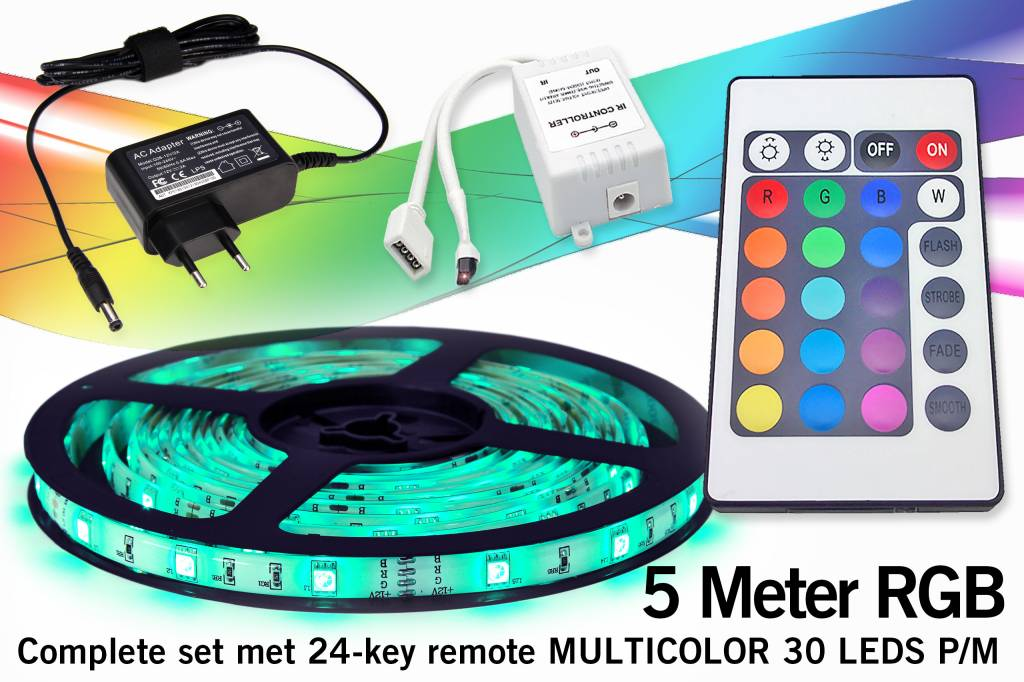 complete set met rgb led strip en ir 24 key afstandsbediening
