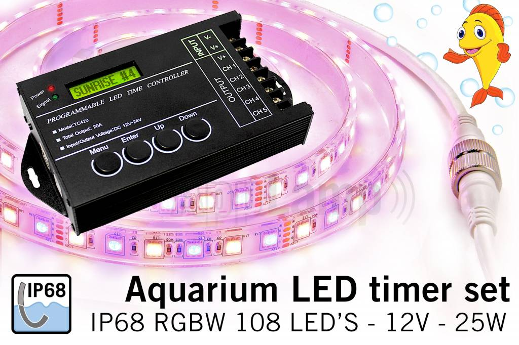 Aquarium LED strip timer set met RGBW IP68 ledstrip van 1,5 meter